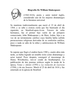 Biografía De William Shakespeare (1564