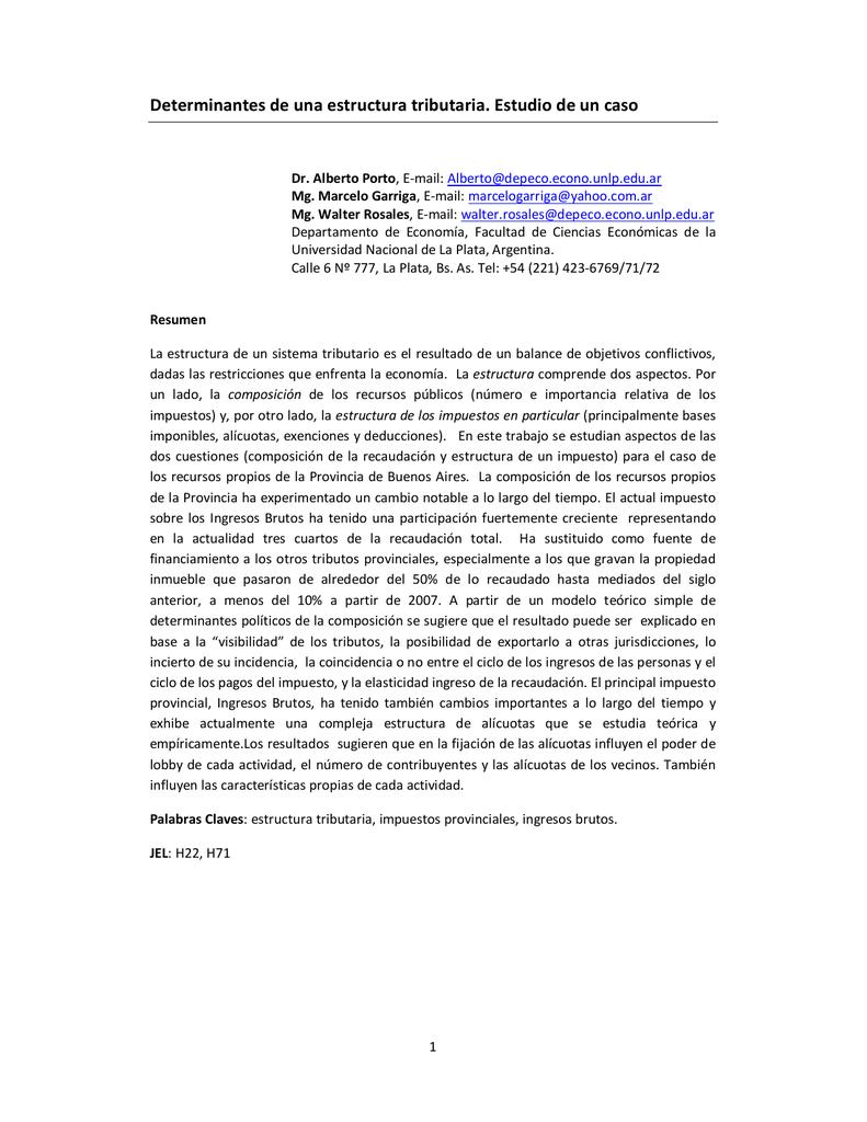 Determinantes De Una Estructura Tributaria Estudio De Un Caso