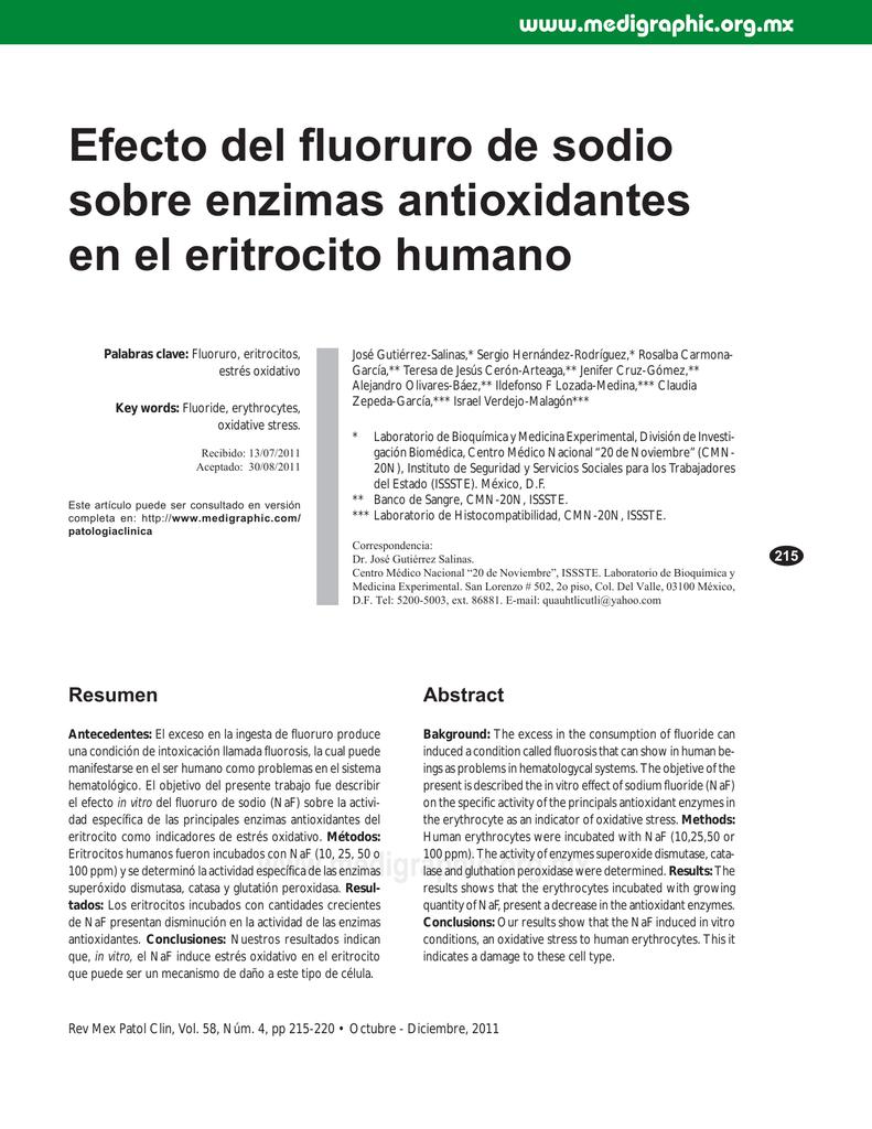Efecto del fluoruro de sodio sobre enzimas