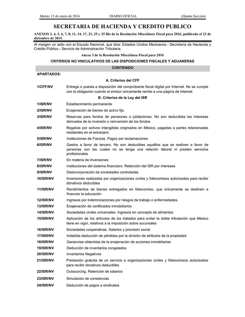 f29439f9b3 Martes 12 de enero de 2016 DIARIO OFICIAL (Quinta Sección) SECRETARIA DE  HACIENDA Y CREDITO PUBLICO ANEXOS 3