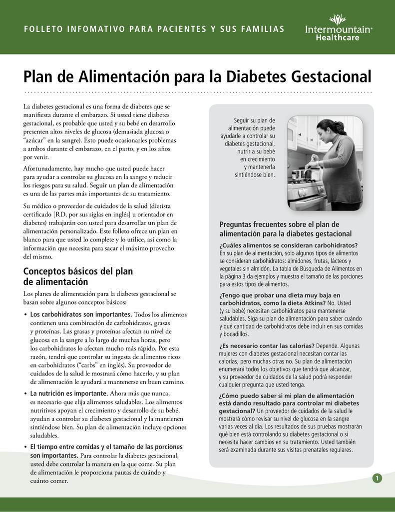 ejemplos de plan de dieta para diabetes gestacional