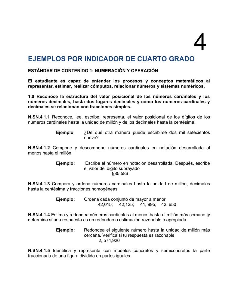 EJEMPLOS POR INDICADOR DE CUARTO GRADO