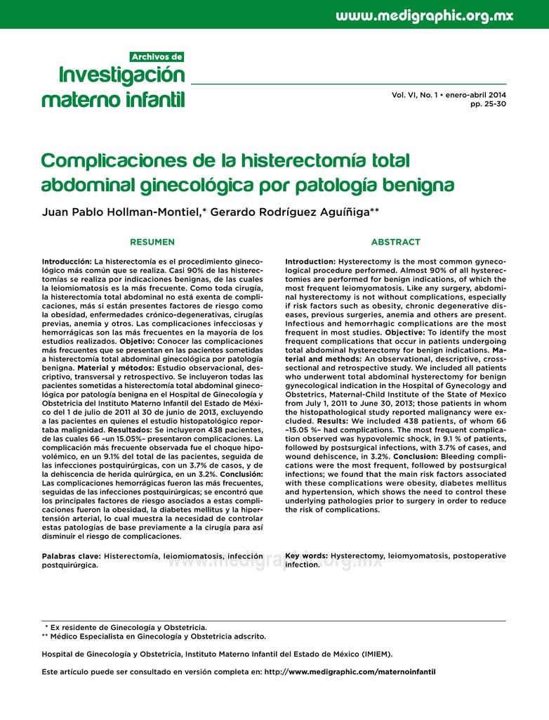 Histerectomia y sus complicaciones