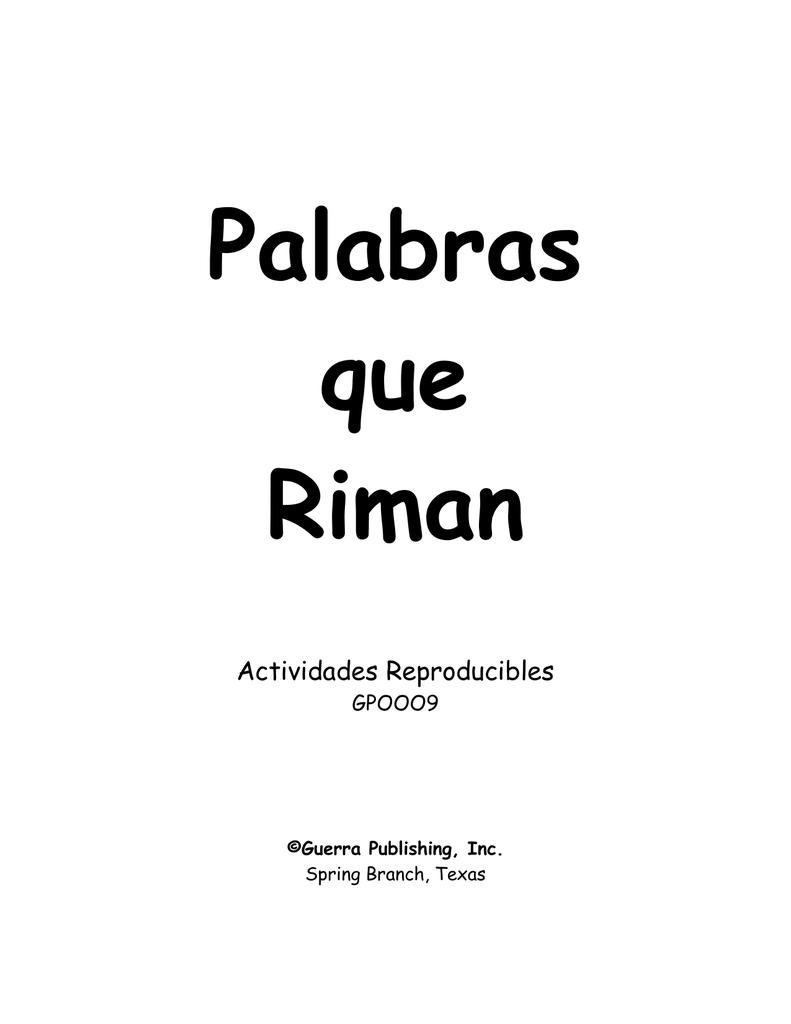 GP0009, Palabras que Riman