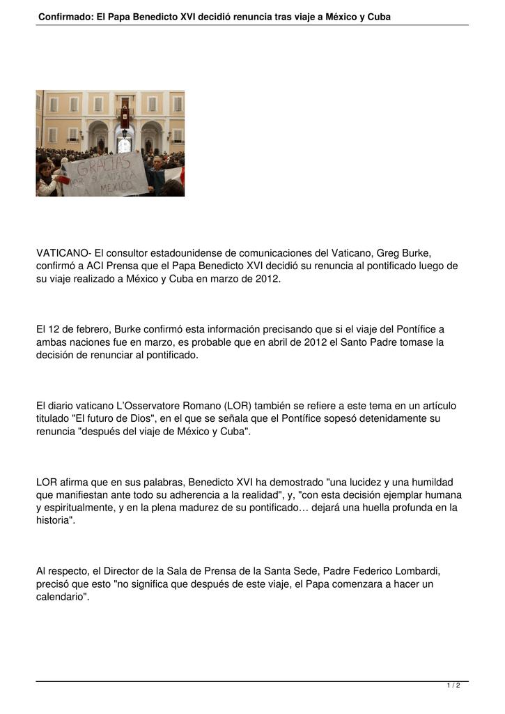 Aci Prensa Calendario.El Papa Benedicto Xvi Decidio Renuncia Tras Viaje A