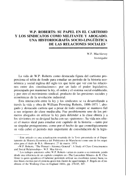 W.P. ROBERTS: SU PAPEL EN EL CARTISMO y LOS SINDICATOS