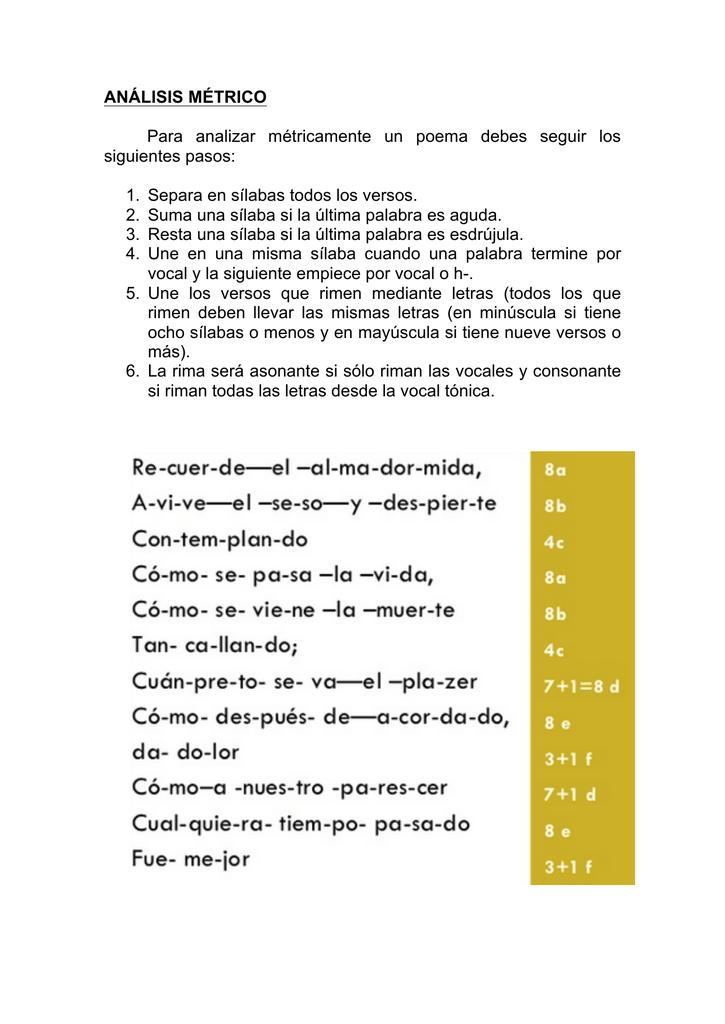 Análisis Métrico Para Analizar Métricamente Un Poema Debes