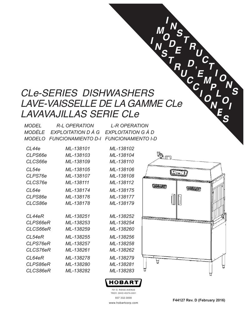 CLe-SERIES DISHWASHERS LAVE-VAISSELLE DE LA