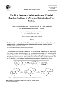 The First Example of an Intramolecular Westphal Reaction