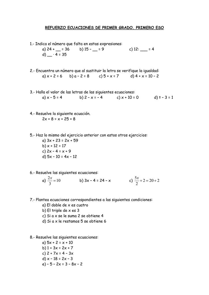 Actividades De Refuerzo De Ecuaciones De Primer Grado