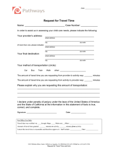 Request for Travel Time