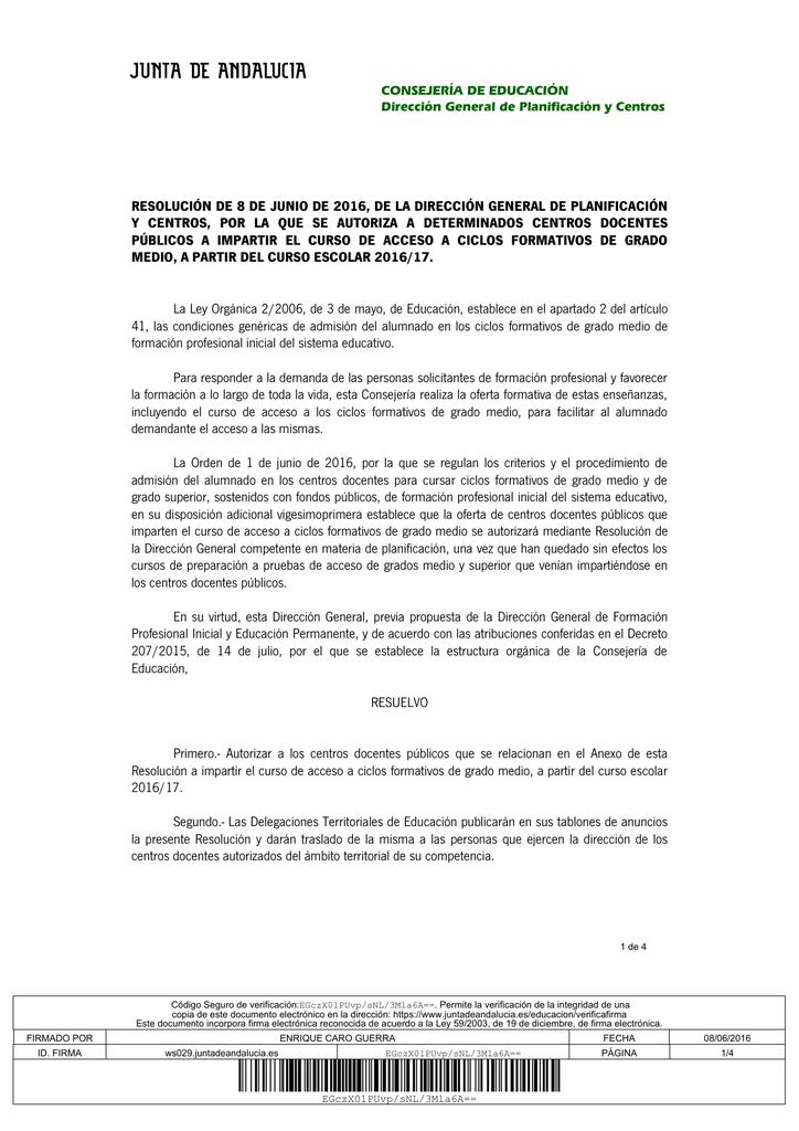 Resolución De Autorización Para Impartir El Curso De Acceso