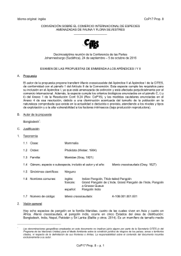Proposal for amendment of Appendix I or II for CITES CoP16