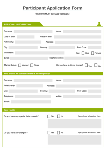 Participant-Application form