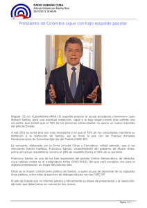 Presidente de Colombia sigue con bajo respaldo popular