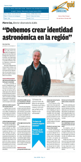 Clipping Digital Pierre Cox, director observatorio ALMA: