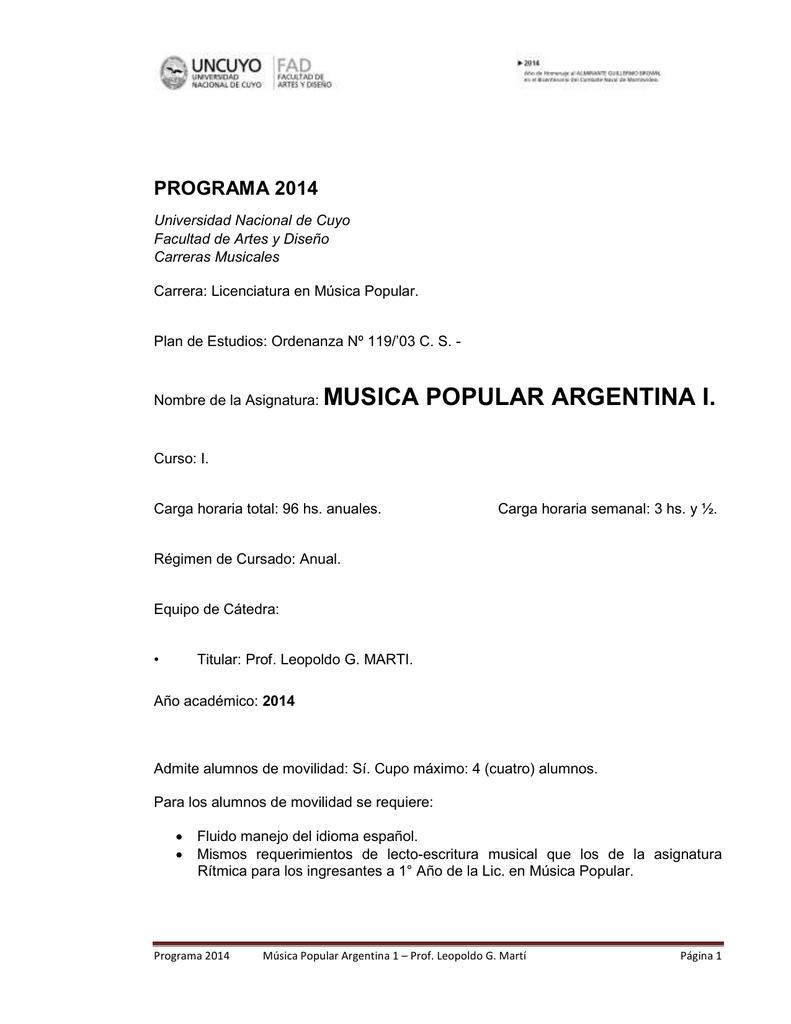 Nombre De La Asignatura Musica Popular