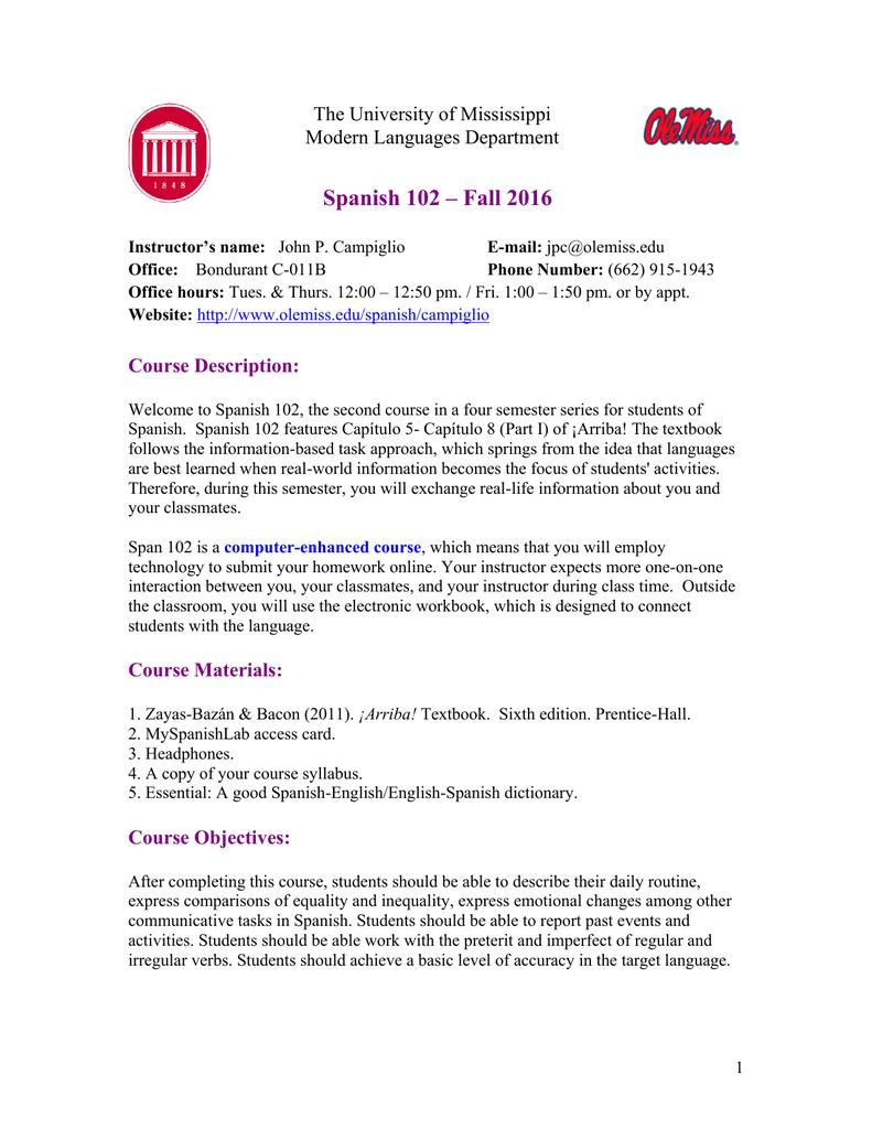 Syllabus for Spanish 102 - University of Mississippi