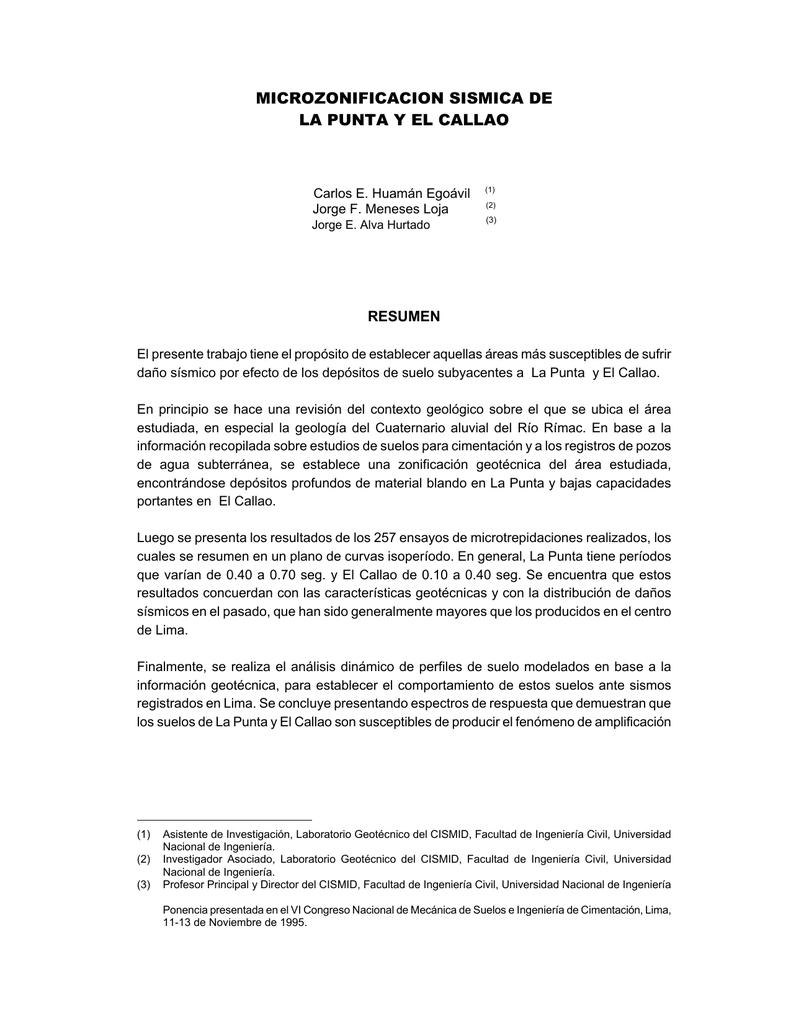Microzonificación Sísmica de La Punta y El Callao