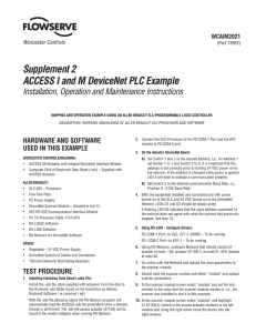 Supplement 2 ACCESS I and M DeviceNet PLC Example