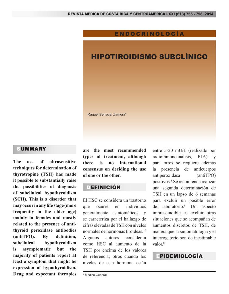 Hipotiroidismo subclinico niveles de tsh