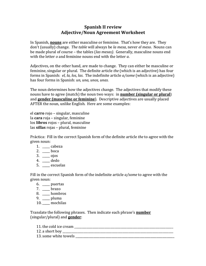 Spanish II review Adjective/Noun Agreement Worksheet