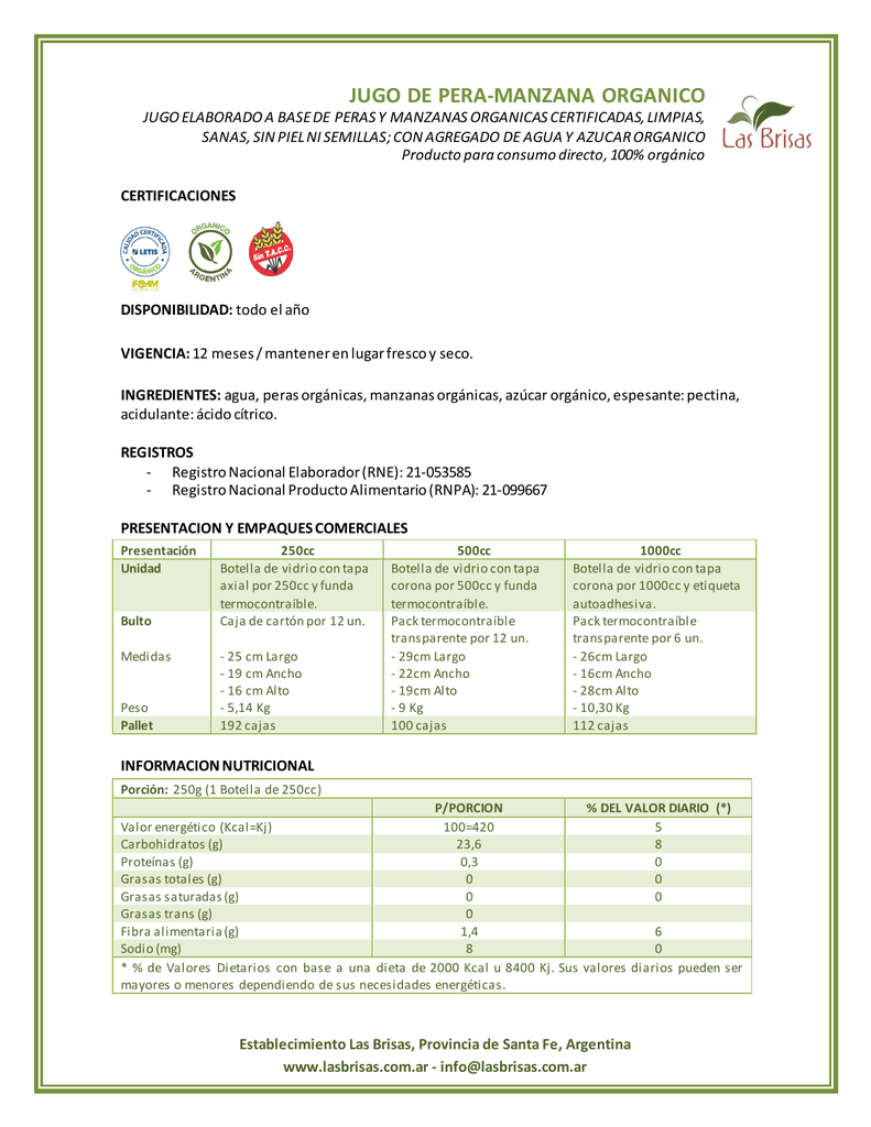 valores diarios para una dieta de 2000 kcal
