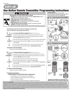One-Button Remote Transmitter Programming Instructions