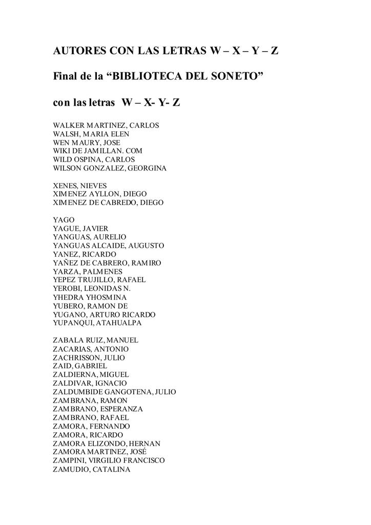 Biblioteca del soneto. Autores: letras W-X-Y-Z