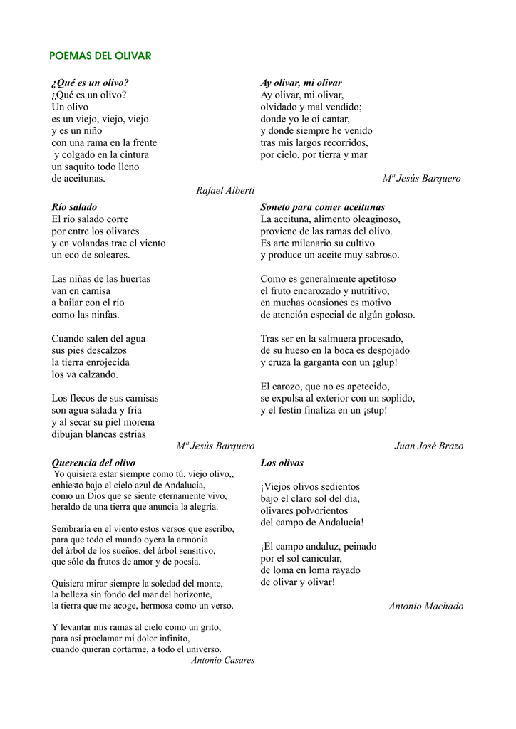 Poemas Sobre El Olivar