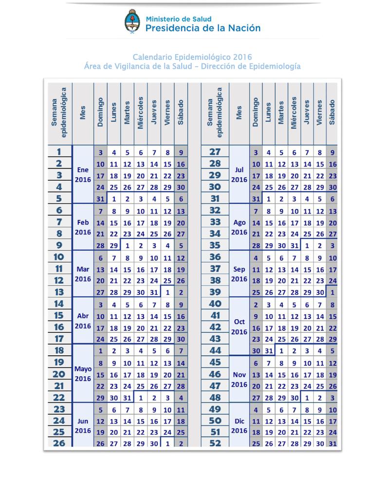 Calendario De Semanas.Calendario Semanas Epidemiologicas 2016