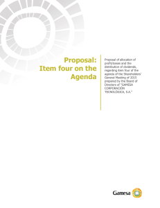 Proposal: Item four on the Agenda