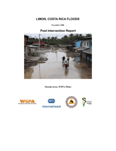 LIMON, COSTA RICA FLOODS Post Intervention Report