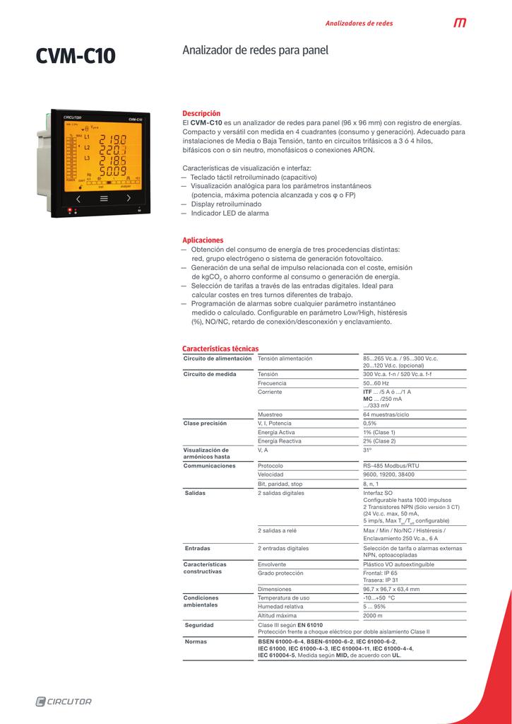 Analizador red cvm-c10-itf-485-ict2 Circutor cvm-c10