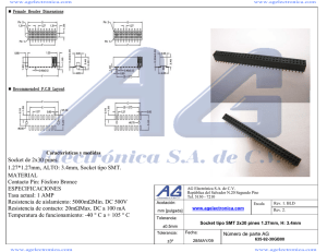 Socket de 2x30 pines. 1.27*1.27mm, ALTO: 3.4mm, Socket tipo SMT