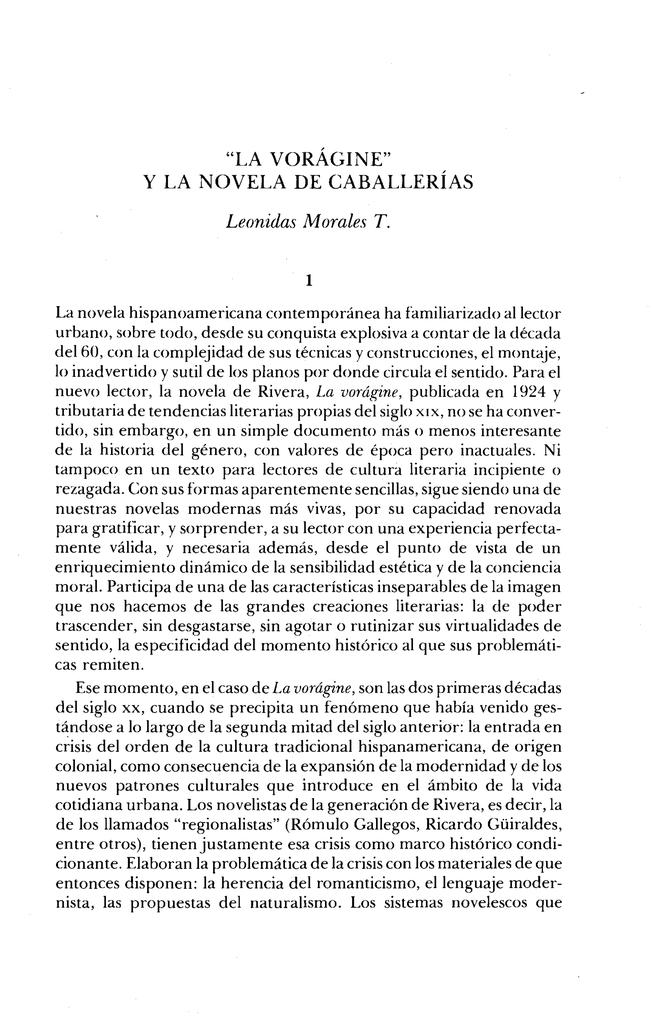 La Voragine Y La Novela De Caballerias