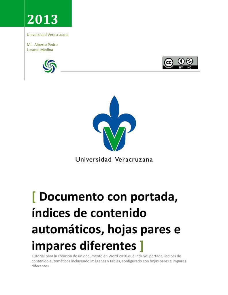Documento con portada, índices de contenido automáticos, hojas