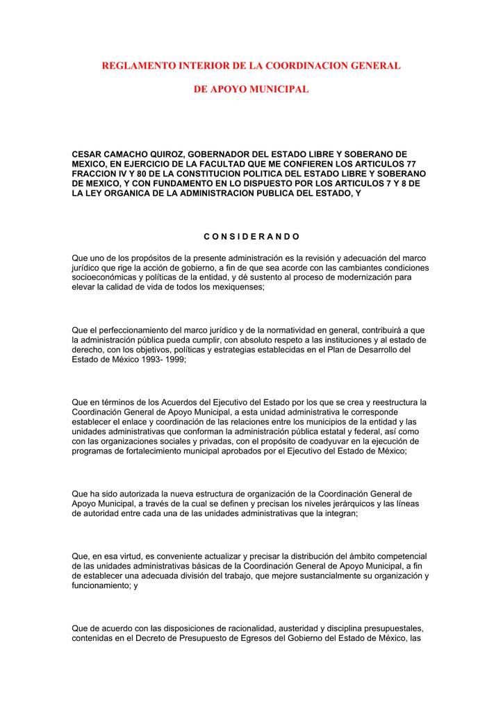 Reglamento Interior De La Coordinacion General De Apoyo
