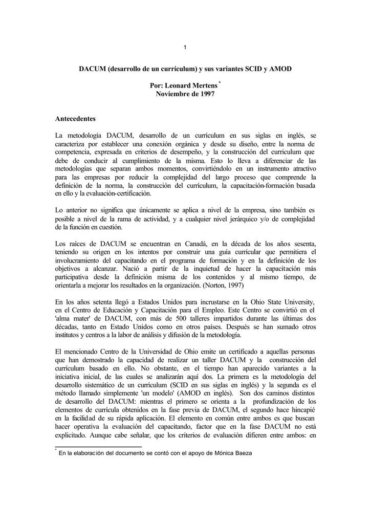 DACUM (desarrollo de un currículum) y sus variantes SCID y AMOD