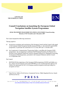 Council Conclusions on launching the European Global Navigation