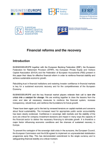 Financial reforms and the recovery