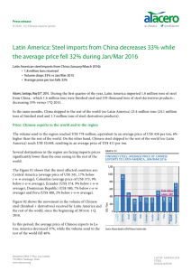 Latin America: Steel imports from China decreases 33% while the