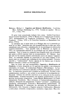 RESEÑAS BIBLIOGRAFICAS Mahonry, Michad J. Cognition and