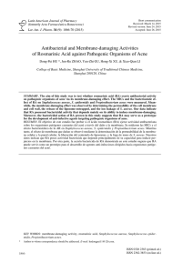 Antibacterial and Membrane-damaging Activities of Rosmarinic Acid
