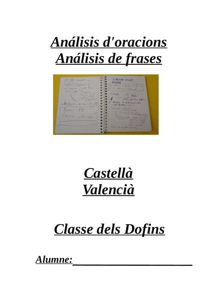 Análisis Doracions Análisis De Frases Castellà Valencià