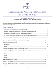 Screening and Assessment Measures for Use in AF-CBT