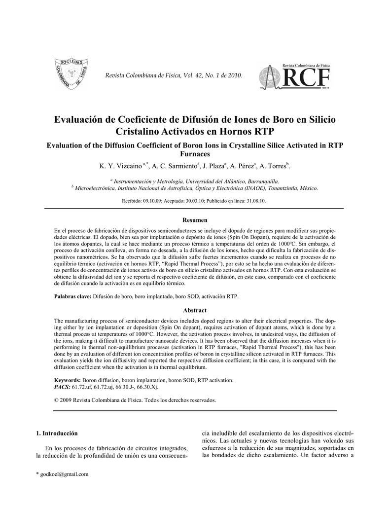 Evaluación De Coeficiente De Difusión De Iones De Boro En