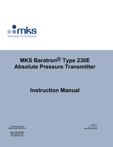 230E Baratron® Absolute Pressure/Vacuum Transmitter Manual
