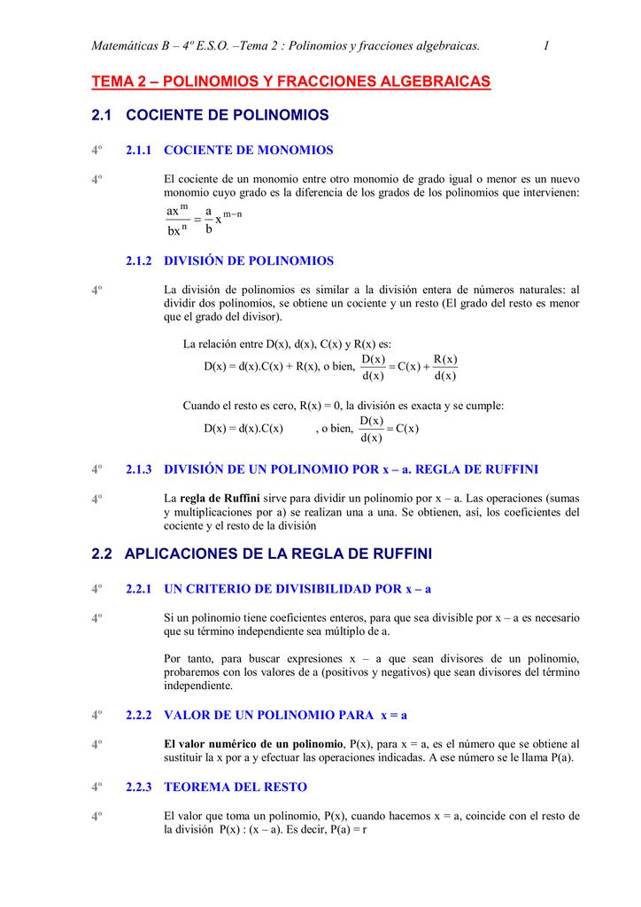 TEMA 2 – POLINOMIOS Y FRACCIONES ALGEBRAICAS 2.1