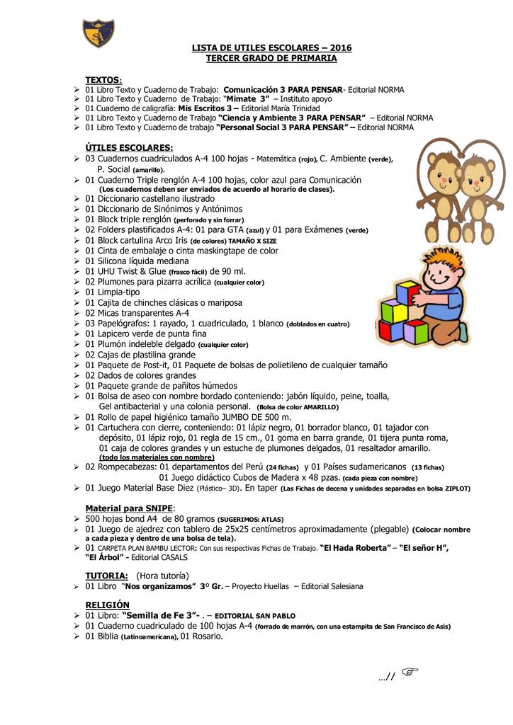 Descarga Lista de Utiles del 3er Grado de Primaria